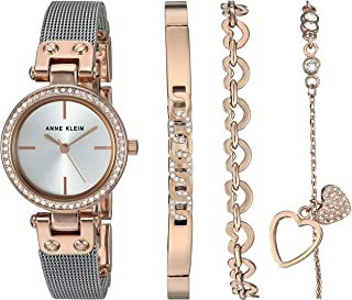 Anne Klein Women's Swarovski Crystal Accented Rose Gold-Tone and Silver-Tone Mesh Watch and Bracelet Set