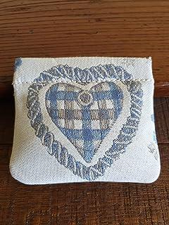 Portamonete con cuore fatto a mano, BEIGE - azzurro pastello, idea regalo, San Valentino, Anniversario, Matrimonio, Bombon...