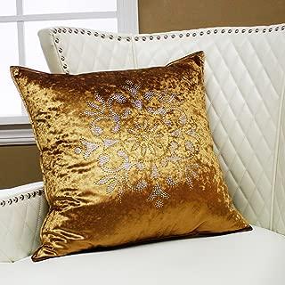 Best Home Fashion Closeout Golden Snowflake Rhinestone Stud Velvet Pillow Cover - 19