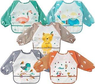 5PCS Long Sleeved Baby Bibs Animals Pattern Feeding Bibs Infant Toddler Bids Waterproof Long Sleeved Bibs with Pockets Clo...
