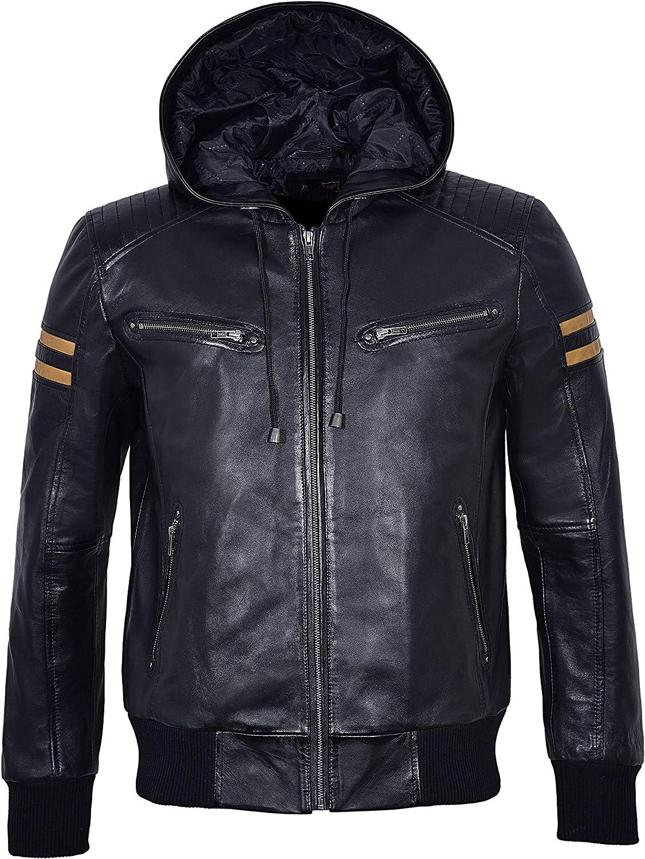 Men's Hooded Leather Jacket Black Stripes Quilted Slim Fit Sports Bomber Jacket 4161