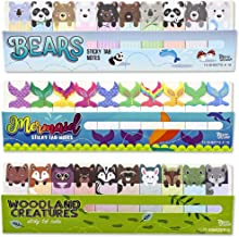 Juvale 900-Count Sticky Notes Page Markers, Cute Bear, Woodland Animals and Mermaid Designs, 2 x .5 Inches