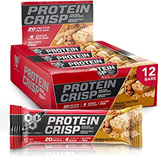 BSN Protein Crisp Bar by Syntha-6, Low Sugar Whey Protein Bar, 20g of Protein, Peanut Butter Crunch, 12 Count (Packaging m...