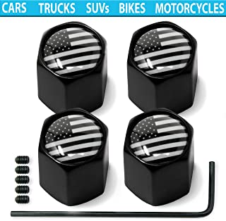 Tire Valve Stem Caps (American USA Flag) Anti-Theft Hexagon Design | Car, Truck, SUV, Bike, Motorcycle, Bicycle | Leakproof, Airtight, Dustproof Seal | All-Weather, Lock Tight Fit