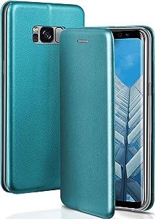 ONEFLOW Handyhülle kompatibel mit Samsung Galaxy S8   Hülle klappbar, Handytasche mit Kartenfach, Flip Case Call Funktion, Klapphülle in Leder Optik, Blau
