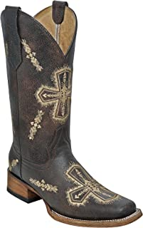 Corral Circle G Women's Embroidered Cross-Designed Brown Leather Cowgirl Boots
