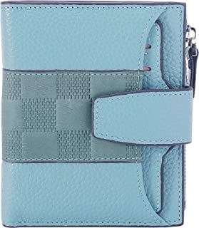 AINIMOER Women's RFID Blocking Leather Small Compact Bi-fold Zipper Pocket Wallet Card Case Purse(Stitched Gray Blue)