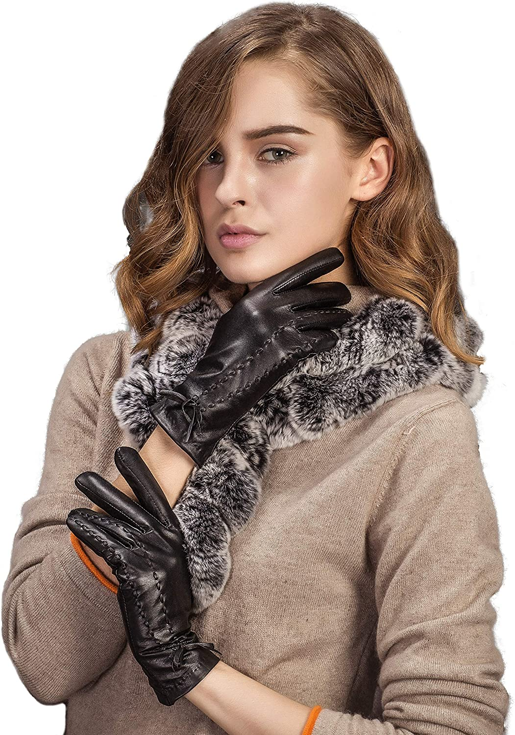 YISEVEN Women's Winter Touchscreen Driving Leather Gloves Fleece Lined Bow Knot