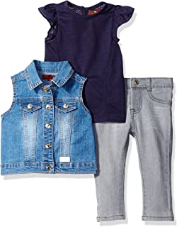 7 For All Mankind Baby Girls' Flutter Sleeve Top, Denim Vest, and Jean Set