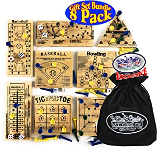 Matty's Toy Stop Deluxe Classic Peg Games Wood Puzzles (Baseball, Basketball, Bowling, Conqueror, Football, Golf, Mill & Tic Tac Toe) Gift Set Bundle with Bonus Storage Bag - 8 Pack