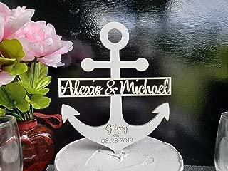 Anchor wedding Cake Topper- nautical topper, Nautical Anchor Wedding Topper, nautical navy gold Personalized Anchor wedding topper