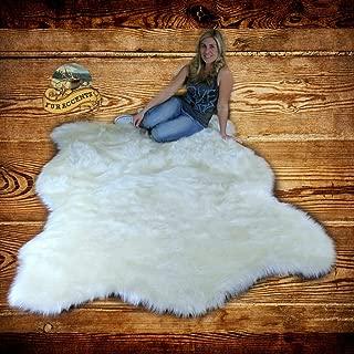 Fur Accents Faux Bear Skin Pelt Rug/White Alaskan Polar Bear/Shag Carpet (5' x 8')