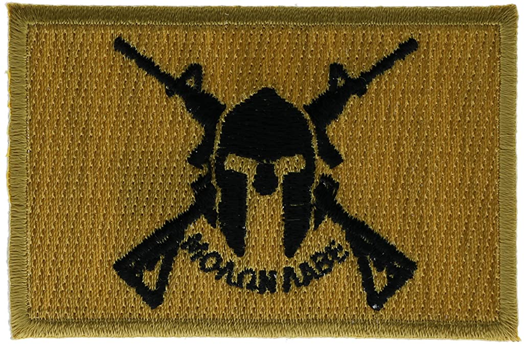 Gold Crossed Rifle Molon Labe Spartan Skull Patch 3 inch IVANP4982