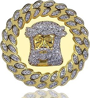 Moca Gioielli Ghiaccio Fuori Jesus Avatar Anello 18K Oro Placcato Bling C' Simulato Diamond Hip Hop Ring per Gli Uomini