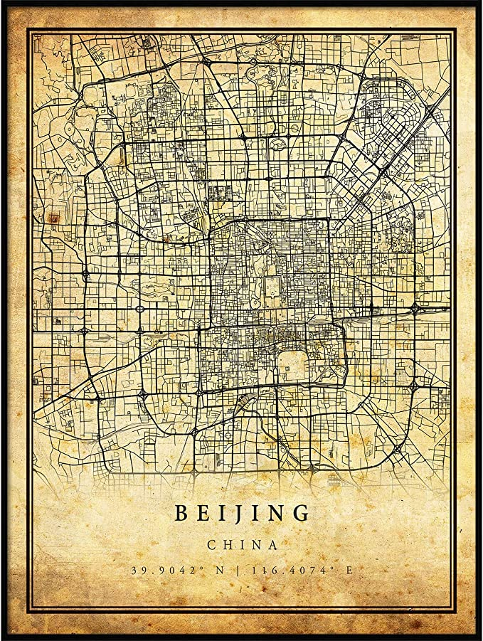 very rare large map,fine art print,antique decor,oversize map print China 1936 Peking antique map fine reproduction Old map of Beijing