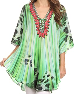 Tallulah Wide Circle Blouse V Neck Top with Tassle Ties and Rhinestones