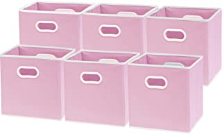 6 Pack - SimpleHouseware Cube Baskets with Handles, Pink (12-Inch Cube)