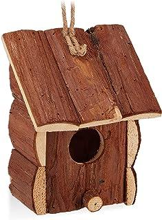 Relaxdays Vogelhaus HBT-Minipajarera Decorativa para Colgar, Madera sin Tratar, balcón, jardín, pajarera (16,5 x 12 x 9,5 ...
