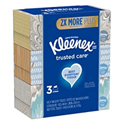Kleenex Trusted Care Everyday Facial Tissues, Flat Box, 144 Tissues per Box, 3 Pack (432 Tissues Tot