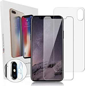 Homy Tempered Glass Screen Protector Kit for iPhone X XS 5.8 inch: 2x Front and 1x Back Ballistic Japanese Glass + 2x Camera Lens Protector. HD Clear Cover, Anti Fingerprint, Case Friendly Protection