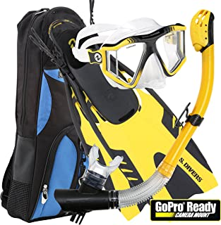 U.S. Divers Lux Mask Fins Snorkel Set Compatible with GoPro, Yellow, Large/X-Large