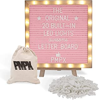 Letter Board THE ORIGINAL Pink Felt Board with Stand, Built-in LED Lights 10 x 10 -Menu Board + Wood Frame, 340 Letters, E...