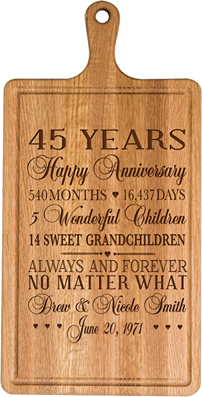 LifeSong Milestones Personalized 45th Year For Him Her Wife Husband Couple Cheese Cutting Board Customized With Year Established Dates To Remember For Wedding Gift Ideas