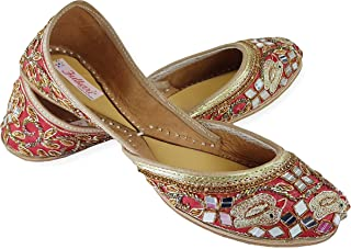 Fulkari Women's Soft Leather Bite and Pinch Free Sparrow Embroidered Comfortable Formal Wear Jutis Ethnic Flat Shoes