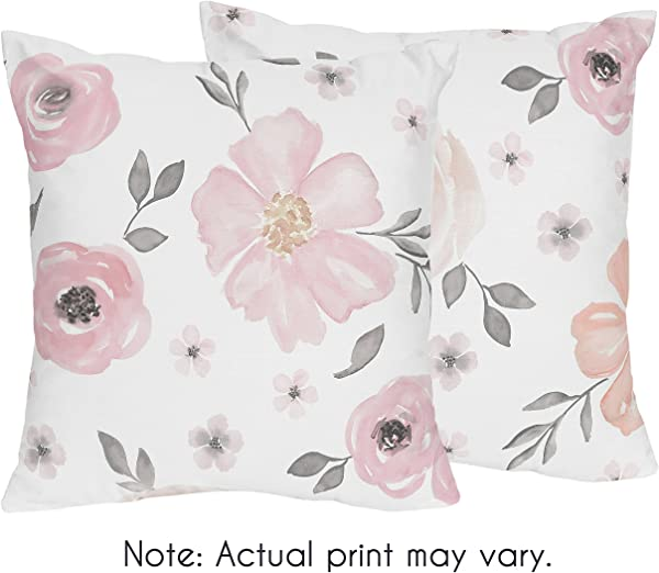 Sweet Jojo Designs 2 Piece Blush Pink Grey And White Decorative Accent Throw Pillows For Watercolor Floral Collection