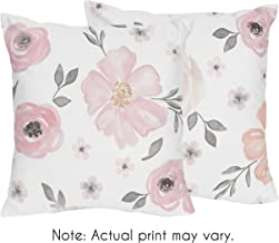 Sweet Jojo Designs 2-Piece Blush Pink, Grey and White Decorative Accent Throw Pillows for Watercolor Floral Collection