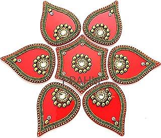 Designer Acrylic Rangoli Flower Shape(Set of 7 pcs)(10 inch Diameter)(RED)