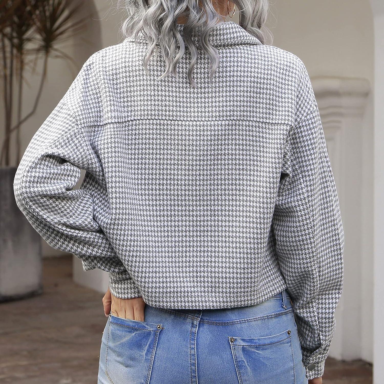 Zontroldy Womens Fashion Cropped Long Sleeve Button Down Corduroy Shirts Jacket