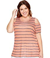 MICHAEL Michael Kors - Plus Size Stripe Cold Shoulder Top
