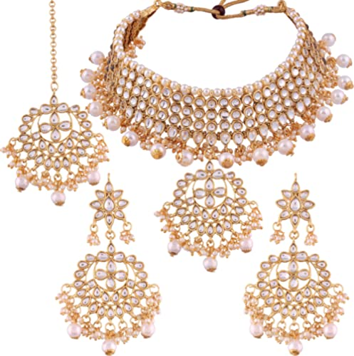 I Jewels Traditional Kundan & Pearl Choker Necklace Set for Women (K7058W) product image