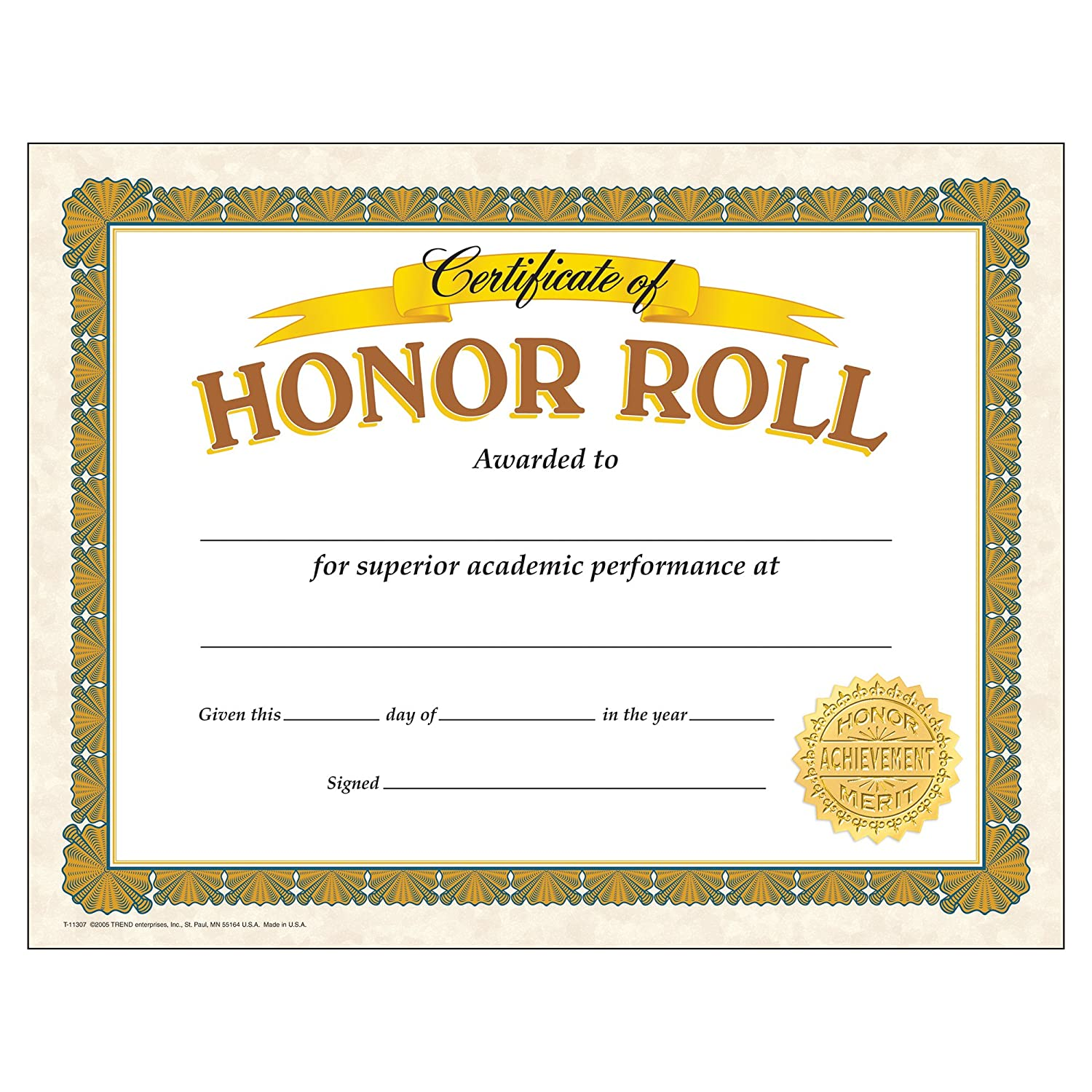 TREND Sale special price enterprises Inc. T-11307BN Classic Certificate Reservation Roll Honor