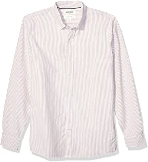 Marca Amazon - Goodthreads Slim-fit Long-Sleeve Placed-Stripe Pocket Oxford Shirt Hombre