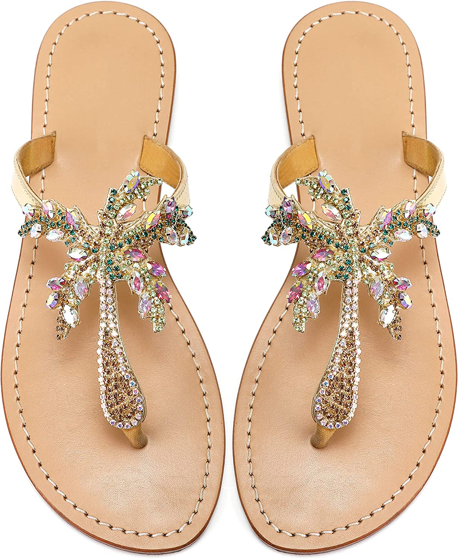Monrovia Women's Rhinestone Max 58% OFF Jeweled It is very popular Flat Beach Sa Wedding Summer