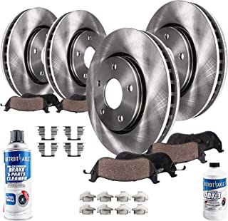 Detroit Axle - All (4) Front and Rear Disc Brake Kit Rotors w/Ceramic Pads w/Hardware & Brake Kit Cleaner & Fluid for 2010...