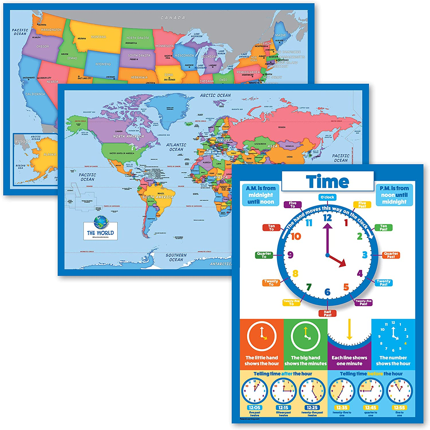 3 Pack Max 78% OFF - World Map USA for Kids + Learning Free Shipping New Tell Ch Time to
