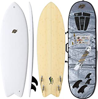 Hybrid Surfboard + Bag Package - Best Performance Foam Surfboard for all Surfing Levels - Custom Longboard & Shortboard Surf Board Shapes for Kids/Adults - Wax Free Soft Top + Fiberglassed Hard Bottom