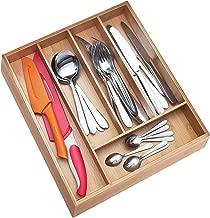 Non-slip, Extra Deep Silverware Drawer Organizer, Bamboo Silverware Organizer, Wood Utensil Flatware Holder, Wooden Cutlery Tray, 10 inch Kitchen Drawer Organizers Dividers by PRISTINE BAMBOO