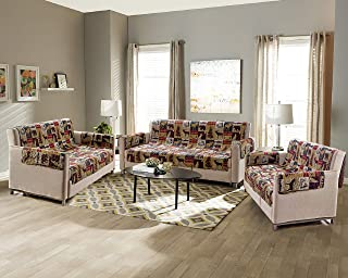 Rustic Cabin Lodge Quilt Stitched Couch Sofa Loveseat Chair Furniture Slipcover Protector With Patchwork of Wildlife Moose Grizzly Bears Deer Buck Antlers and Tribal Patterns - Western 3 (Loveseat)