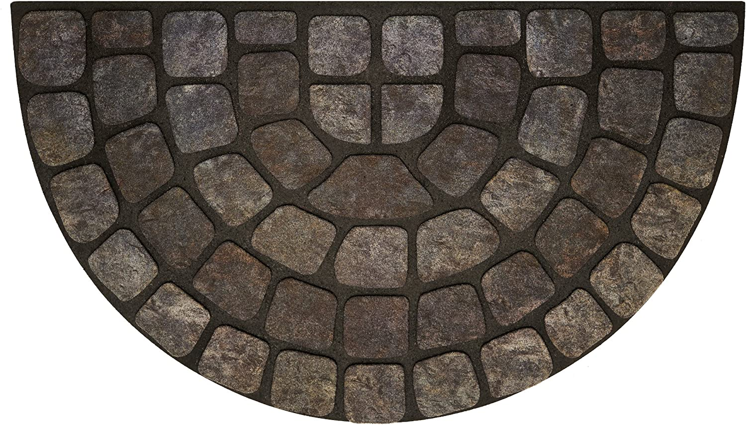 Ben&Jonah Collection Raised Rubber Mat Grey Stone Slice 18x30