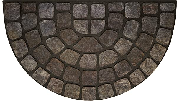 Achim Home Furnishings RRM1830GS6 Grey Stone Slice Raised Rubber Door Mat 18 By 30 Black
