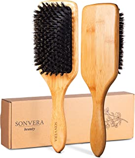 Natural Boar Bristle Hair Brush for Women Men Kids Pure Boars Bamboo Paddle Brush Mens | Eco Bore Wooden Detangling Hairbrush for Thin Dry Normal and Fine Hair | Restore Shine And Texture To Your Hair