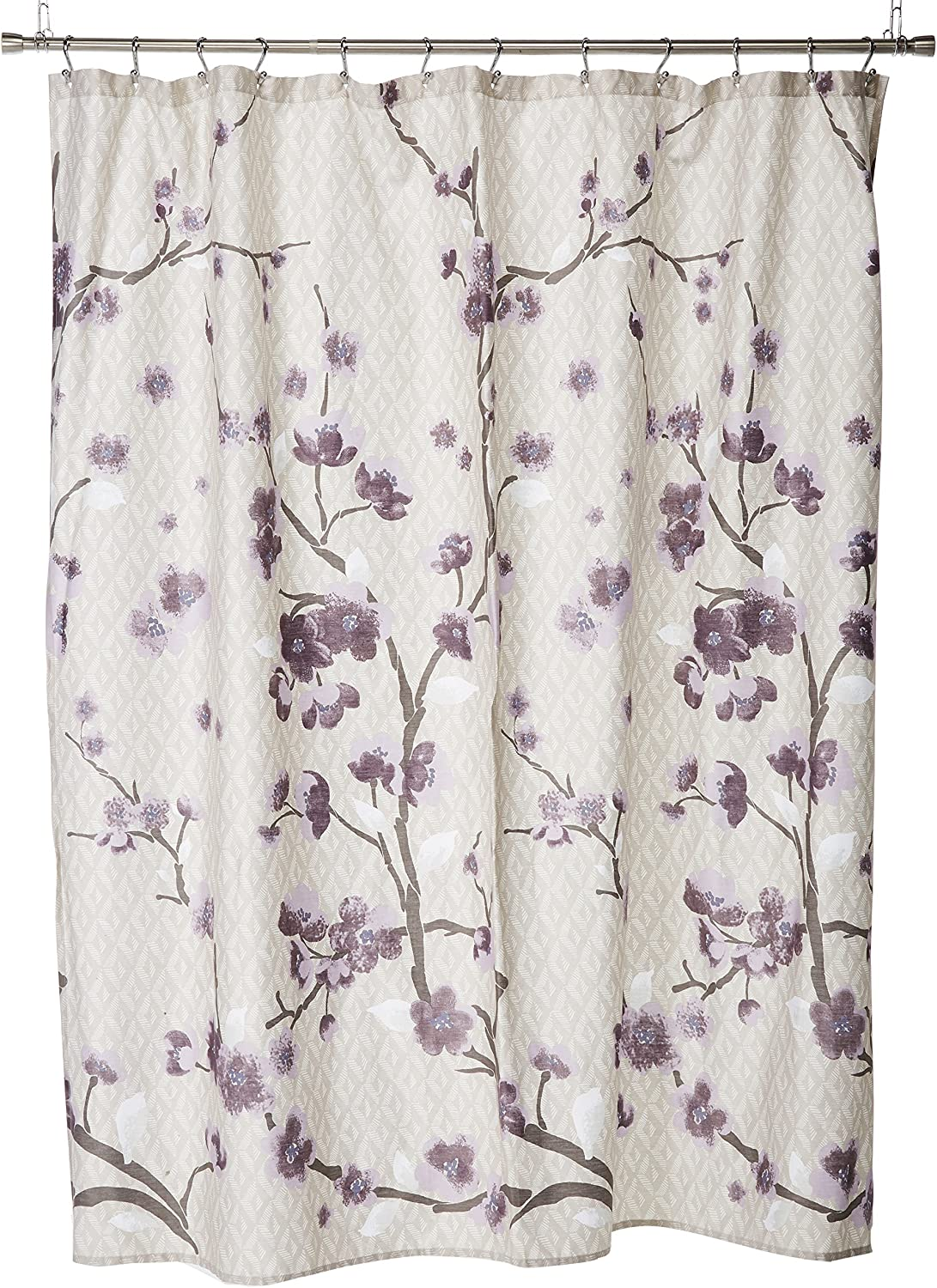 Madison Park Holly Modern Cotton Fabric Long Shower Curtain, Floral Shower Curtains for Bathroom, 72 X 72, Yellow