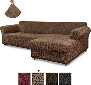 Sectional Sofa Cover - Sectional Couch Covers - L Couch Cover - Cotton Fabric Slipcovers - 1-piece Form Fit Stretch Furniture Slipcover - Mille Righe Collection - Camel (Right Chase)