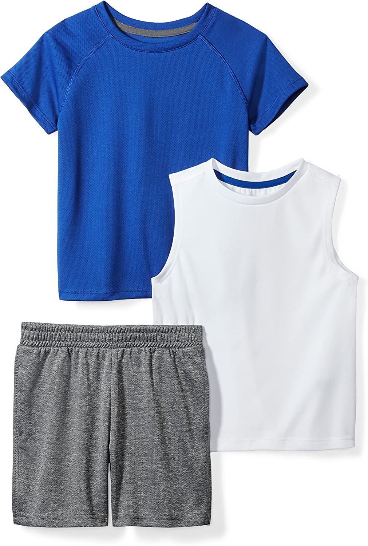 Amazon Brand - Spotted Zebra Boys' Active T-Shirt|,| Tank and Shorts Set