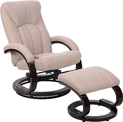 Strange Amazon Com Bonded Leather Recliner And Ottoman Taupe Machost Co Dining Chair Design Ideas Machostcouk