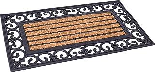 BIRDROCK HOME 18 x 30 Rectangular Natural Coir and Rubber Doormat with Scroll Border - Natural Fibers - Outdoor Doormat - ...